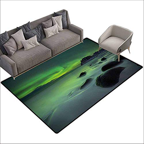 - Washable Kitchen Area Rug Aurora Borealis,Magic Nature Panorama Coastline Oval Energy Sky Mist Picture,Almond and Lime Green 48