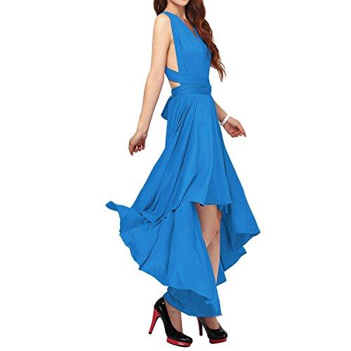 Vestido de Fiesta de Mujer de Dama de Honor Transformer/Infinity Sin Mangas Maxi Largo Vestidos de Cóctel Piso-Longitud/Hi-lo Multi-Way Dresses XS-XL Azul (Hi-lo)
