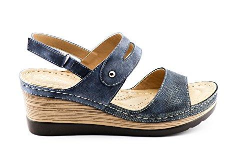 CALICO KIKI XIA-CK01 Women's Casual Peep Toe Velcro Ankle Strap Wedge Sandal Platform Shoes (8 US Navy) by CALICO KIKI (Image #1)