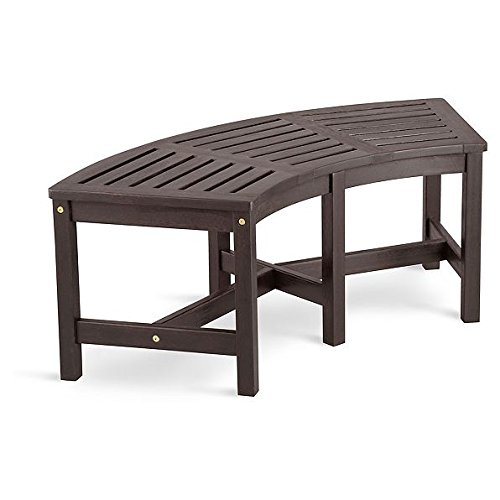Creative Wood Solutions Curved Eucalyptus Wood Bench – Espresso