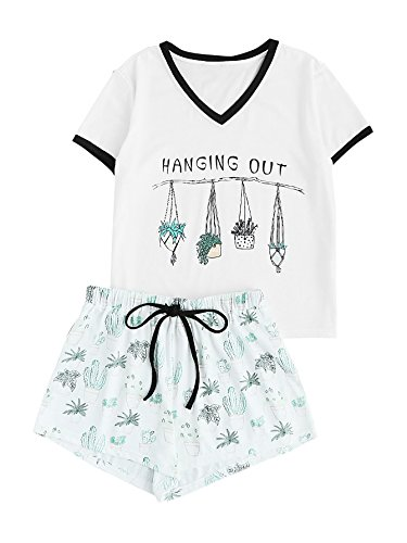 DIDK Women's Sleepwear Ringer V Neck Tee and Shorts Pajama Set White XL -