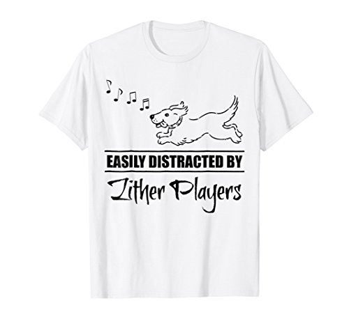 Cute Dog Easily Distracted by Zither Players T-Shirt