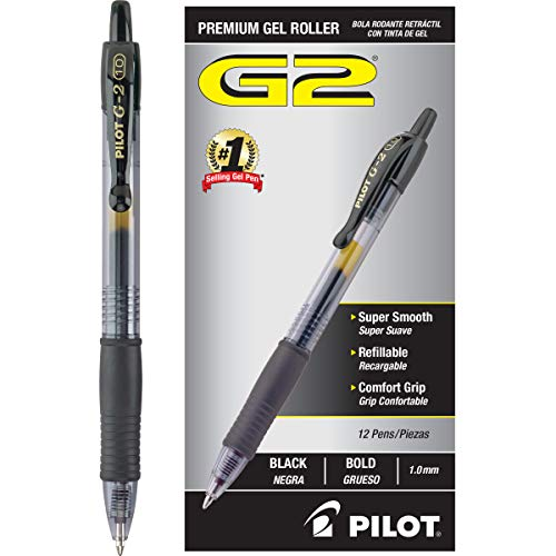 Pilot G2 Retractable Premium Gel Ink Roller Ball Pens Bold Pt (1.) Dozen Box Black; Retractable, Refillable & Premium Comfort Grip; Smooth Lines to the End of the Page, America's #1 Selling Pen Brand