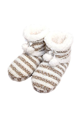 HY Brown Ribbons Cozy Boots 0112 Pom W Womens Warm Stripe Slipper Comfy 0zPxnwqTp