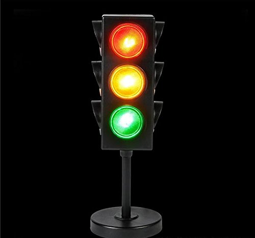 Crossing Highway Sign (Traffic Light Lamp with base - 8 inches Cool and Fun Bright Lights - Flashing Red, Yellow, Green Stoplight Lamp 1 pc. - Great for Kids Themed Parties, Perfect Party Decorations, Birthdays - By Kidsco)
