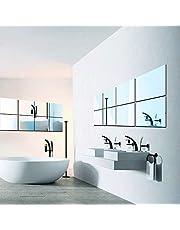 ستيكر ديكور ثلاثي الابعاد ذاتي اللصق بسطح مرآة تعلق على الحائط بتصميم اصنعها بنفسك من 16 قطعة