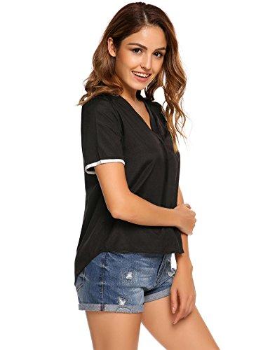 Meaneor Damen V-Ausschnitte Bluse Kurzarm Shirt Sommer Top Faltenwurf Oberteil mit Spitze causal lose Bluse Schwarz T-Shirt XL