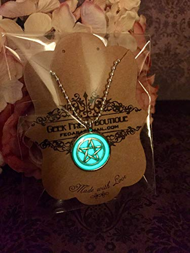 - Supernatural Inspired Protection Tattoo Pentagram Pentacle Glow In The Dark Pendant On Ball Chain Necklace