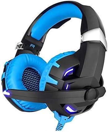 HNSYDS から選択するマイクサブウーファーヘッドセット、簡単な折り畳み式の2色で、有線コンピュータヘッドセットヘッドセット ゲーミングヘッドセット (Color : Blue)