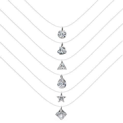 Unrend 6pc Crystal Rhinestone Transparent Fishing Line Necklace Clear Zircon Teardrop Pendant Necklace for Women Girl (6pcs)