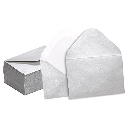 Mini Envelopes - 100-Count Bulk Gift Card Envelopes, Silver Business Card Envelopes, Bulk Tiny Envelope Pockets for Small Note Cards, 4 x 2.7 Inches - Mini Business Card