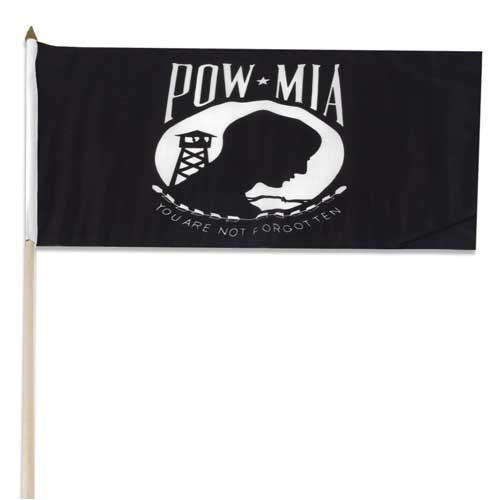 POW/MIA Flag 12in x 18in Mounted on 24in Wooden Stick
