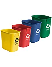 Acrimet Wastebasket Bin for Recycling 12L (Made of Plastic) (Metal/ Yellow, Paper/ Blue, Glass/ Green, Plastic/ Red) (Set of 4)