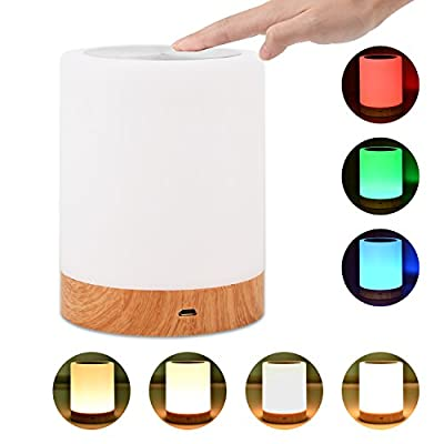 Comkes Bedside Lamp, Sensor Touch Lamp Portable Night Light Desk Table Lamps for Living Room Bedrooms with Rechargeable Internal Battery Dimmable Warm White Lights and Color Changing RGB