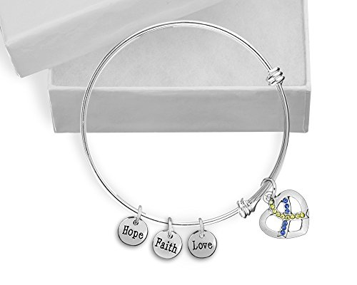 (Fundraising For A Cause Blue & Yellow Crystal Ribbon Retractable Charm Bracelet in a Gift Box (Retail))