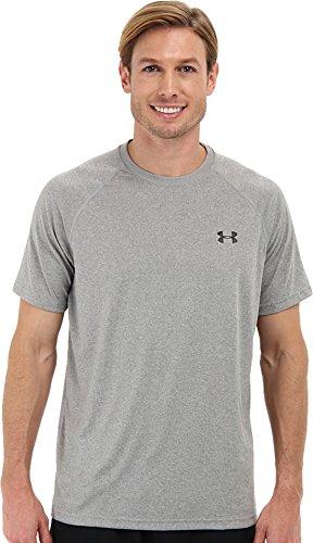 Under Armour Men's Tech Short Sleeve T-Shirt, True Gray Heather /Black, Medium