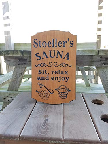 Ruskin352 Sauna Sign Personalized Wooden Printed Plaque Housewarming Gift Sauna Accessories Images Sit Relax and Enjoy Wording 18 x 11