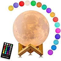 LOGROTATE Moon Lamp, 3D Printing 16 Colors LED Moon Light with Stand and Time Setting & Remote & Touch Control, Hanging...