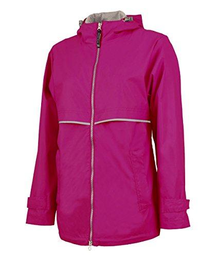 Charles River Apparel Women's New Englander Waterproof Rain Jacket, Hot Pink Reflective, 3XL]()