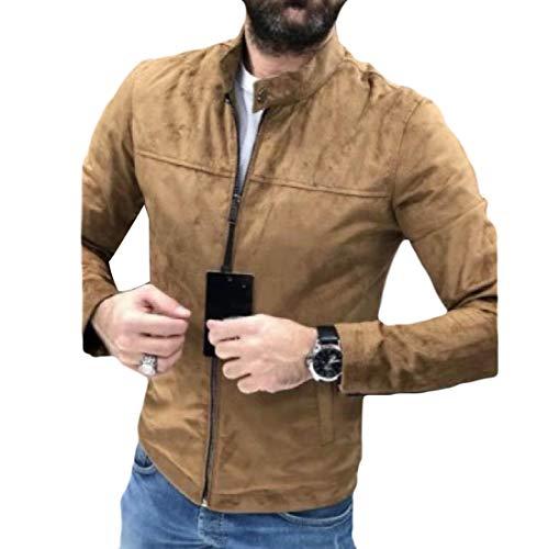 Sebaby Men Mandarin Collar Long Sleeve Zipper Faux Suede Solid Coat Jacket Khaki L