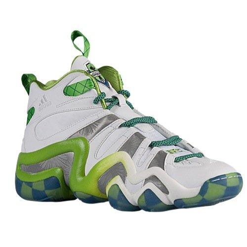 Adidas Crazy 8 Mens Basketball Shoe 10 White-Silver Met-Black