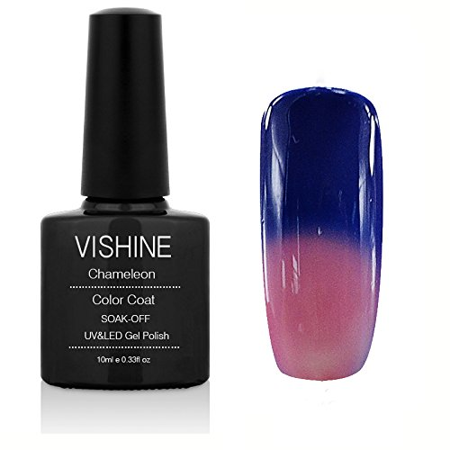 Vishine Thermal Temperature Color Changing Soak Off UV LED Gel Nail Polish Spectrum Blue to Regal Orchid 5713 ()