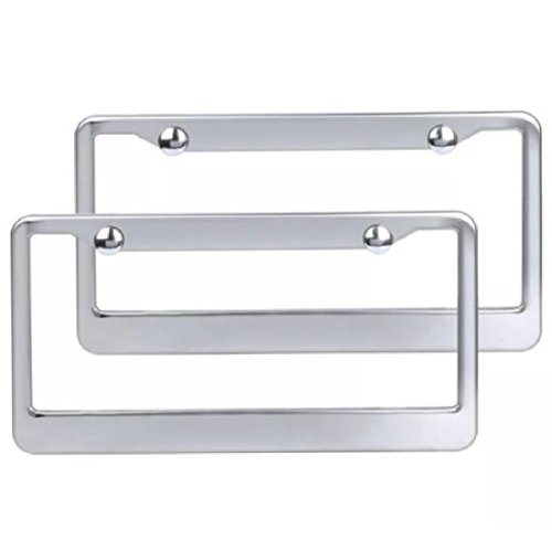 2 Piece Chrome Stainless Steel Metal License Plate Frame Tag Cover with Screw Caps