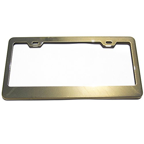 Gold Powder Coated 100% Stainless Steel License Plate Frame Holder Tag ()