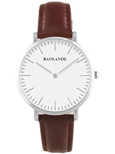 Alienwork Classic St.Mawes Quarz Armbanduhr elegant Quarzuhr Uhr modisch Zeitloses Design klassisch silber braun Leder U04816M-02