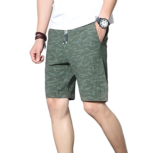 K&S Men's Casual Shorts Workout Fashion Comfy Shorts Summer Breathable Loose Shorts Beach Shorts (L, Z21-Green)