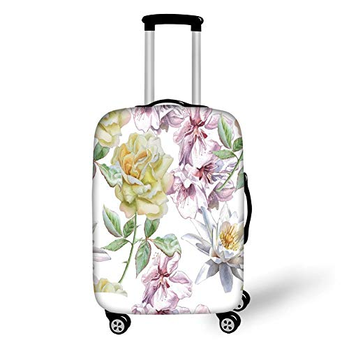 Floret 3 Light - Travel Luggage Cover Suitcase Protector,Floral,Rose Petals Sakura Lily Flowers Blooms Romance Florets Design,Light Pink Yellow Fern Green,for TravelM 23.6x31.8Inch