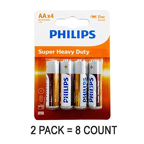 PHILIPS 8 AA Zinc Chloride Double A Batteries R6 1.5V Super Heavy Duty Battery