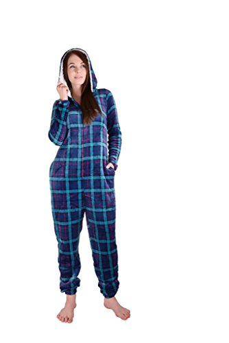 Cherokee Women's Adult Hooded Sleepwear Onesies, Plaid Two, Medium]()
