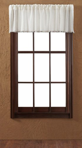 Tobacco Curtain Panel - VHC Brands 8322 Tobacco Cloth Fringed Valance, 16