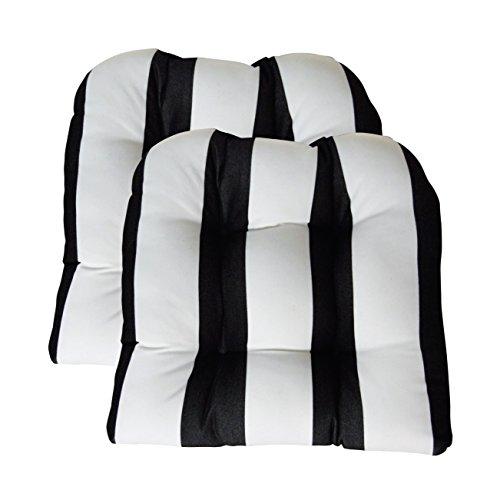 RSH Decor Sunbrella Cabana Classic 2 Piece Wicker Chair Cushion Set - Indoor/Outdoor 2 Matching Wicker Chair Cushions - Black & White Stripe (Black And Stripe White Sunbrella)
