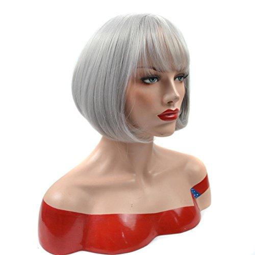 [DEESEE(TM) Natural Lifelike Grandma gray Girls Short Hair Bangs Air Bang Bobo Head Pear Wig (A)] (Adult Pear Costumes)