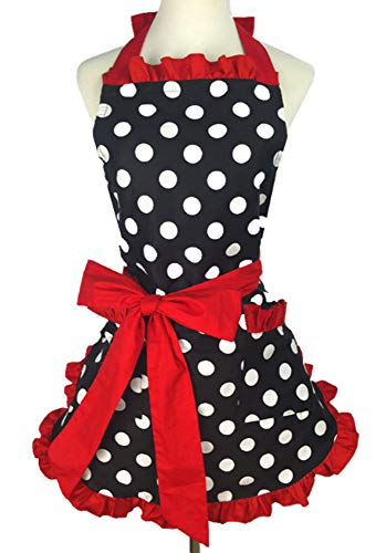 Kitchen Aprons Woman Retro Vintage Girl Polka Dot Cooking Pinafore Christmas Apron Dress (Dot Red)