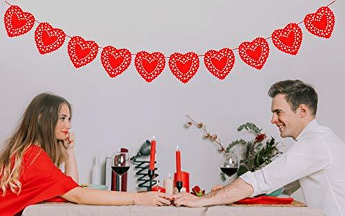 Sweetdecor Heart Garland - Red Felt Heart-Shaped Garland - Rustic Heart Wire Garland Banner - Top Valentine