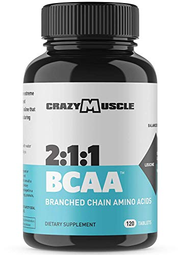 Crazy Muscle BCAA Capsules (1000mg) Pre and Post Workout Supplement with Essential Branched Chain Amino Acids, Improve Muscle Recovery, Boost Energy (120 Pills)