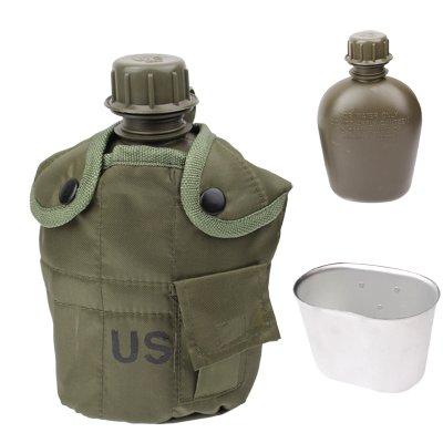 3–in - 1, 1 gourde/bouteille d'eau avec tarnungs design jungle armée uS militaire libre trinkenflasche avec gobelet (cantine et sac de transport en nylon
