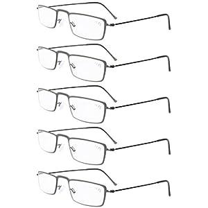 Eyekepper 5-Pack Stainless Steel Frame Half-eye Style Reading Glasses Readers Gunmetal +2.5