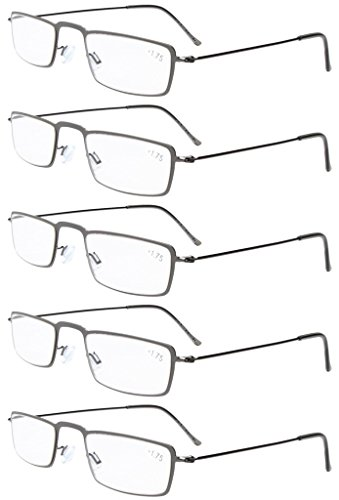 Eyekepper 5-Pack Stainless Steel Frame Half-eye Style Reading Glasses Readers Gunmetal +2.5