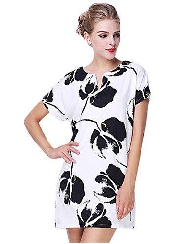 PU&PU Robe Aux femmes Ample Simple,Imprimé Col en V Mini Coton , white-2xl , white-2xl