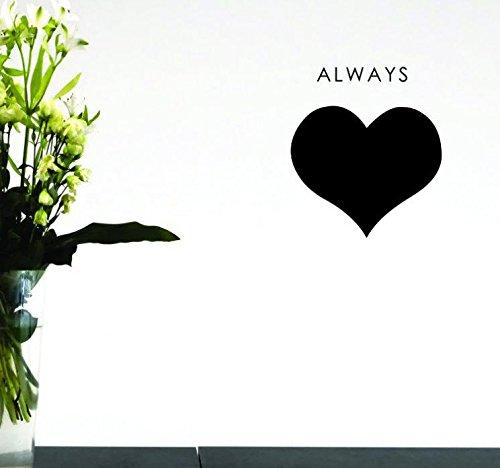 Black Design with Vinyl Moti 1587 4 Always Heart Peel /& Stick Wall Sticker Decal 20 x 20