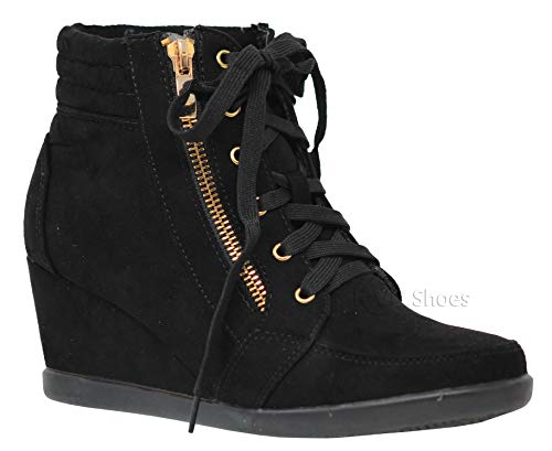 MVE Shoes Women's Lice Up Wedge Booties - Side Zipper Wedge Shoes, PEGGY-56 Black 10 (This Moment Black Suede Lace Up Heels)