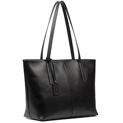 On Clearance NAWO Women's Leather Designer Handbags Shoulder Tote Top-handle Bag Clutch Purse Black (Leather Tote Purse)