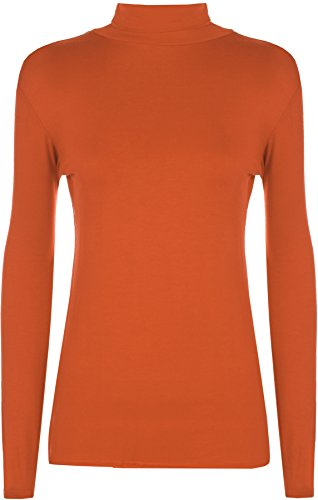 WearAll New Ladies Polo Neck Stretch Long Sleeve Womens Plain Top Jumper 8-14