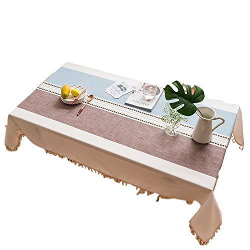 B 140x220cm UNILIFE Nappe, Nappe Minimaliste Japonaise Simple Coton Effet Lin Dentelle Anti Tache Durable Rectangulaire pour Jardin Maison Picnic,B,140x220cm