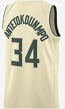 Jerseys de Baloncesto for Hombre NBA Bucks 34 Malla Bordada de ...