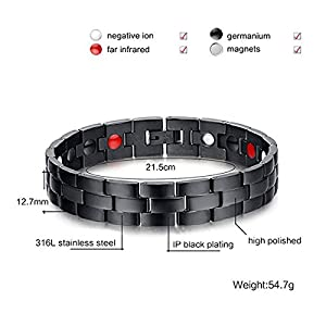 Jeracol Magnetic Bracelet Men Arthritis Bracelet with Health 4 Element Magnets Bracelet for Carpal Pain Relief Magnetic Therapy Bracelet Health Gifts with Remove Tool & Gift Box